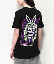 Lurking Class by Sketchy Tank Bunny Blacklight Black T-Shirt
