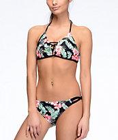 Malibu Maui Escape Black Floral Hipster Bikini Bottom
