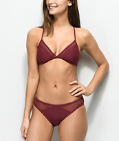Malibu Way Out Hipster braguitas de bikini de malla en color borgoño