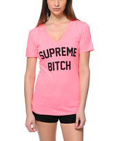 44ebbfe381ee0 Married To The Mob Supreme Bitch Hot Pink V-Neck T-Shirt