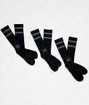 Nike SB 3 Pack Black & Charcoal Crew Socks