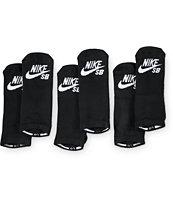 Nike SB 3 Pack Black No Show Socks