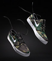 Nike SB Janoski Camo & White Canvas Skate Shoes