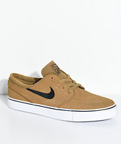 Nike SB Janoski Golden Beige & White Suede Skate Shoes
