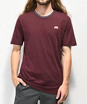 Nike SB camiseta acanalada de rayas borgoñas