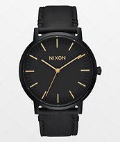 Nixon Porter Leather All Black & Gold Watch