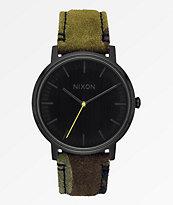 Nixon Porter Leather Black, Camo & Volt Yellow Analog Watch