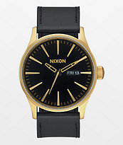 Nixon Sentry Leather Gold & Black Analog Watch