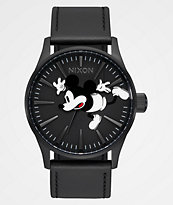 Nixon x Mickey Mouse Sentry Leather All Black Analog Watch
