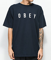 Obey Anyway camiseta azul marino y blanca