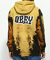 Obey Better Days Bleached Tie Dye Black & Rust Hoodie