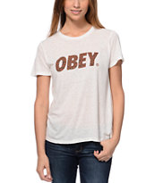 Obey Cheetah Font White Back Alley T-Shirt