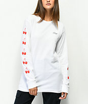 Obey Cherry Script White Long Sleeve T-Shirt
