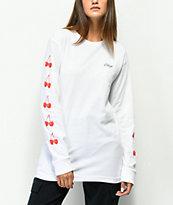 Obey Cherry Script camiseta blanca de manga larga