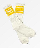 Obey Cooper II White & Lemon Yellow Crew Socks
