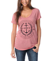 Obey Cruise Liner Red Scoop Neck T-Shirt