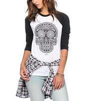 Obey Day Of The Dead Black & White Baseball Tee Shirt