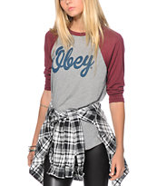 Obey Dewallen Script Burgundy & Grey Baseball T-Shirt