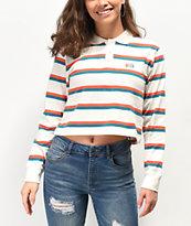 Obey Glenview Stripe White Long Sleeve Polo Shirt