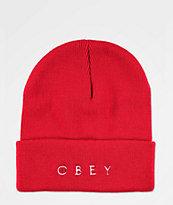 Obey Novel 2 Red Beanie