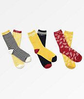 Obey Ray paquete de 3 calcetines amarillos