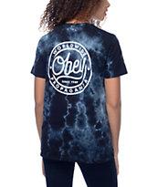 Obey Since 89 camiseta negra con efecto tie dye