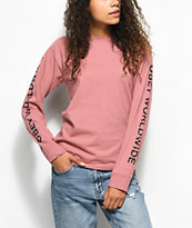Obey Static Worldwide camiseta de manga larga en color rosa polvareda