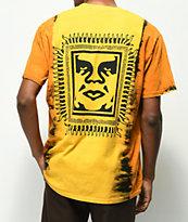 Obey Tribal People camiseta dorada con efecto tie dye