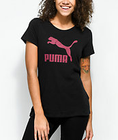 PUMA Archive Black & Burgundy Logo T-Shirt