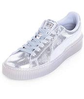 4ed7a443336 PUMA Basket Platform NS Silver Shoes (Womens)