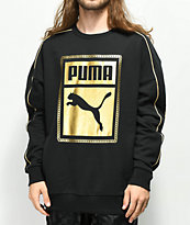 PUMA Chains sudadera negra con cuello redondo