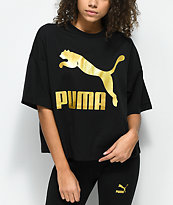 PUMA Glam Oversized Black & Gold  T-Shirt