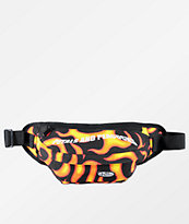 Petals and Peacocks Flames Black Fanny Pack