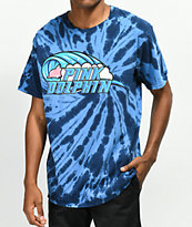 Pink Dolphin Barrel Roll Blue Tie Dye T-Shirt