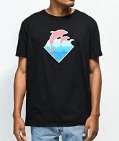 Pink Dolphin Wave Puff Print camiseta negra