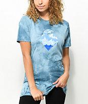 Pink Dolphin Waves Slate Blue Tie Dye T-Shirt