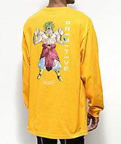Primitive x Dragon Ball Z Broly camiseta dorada de manga larga