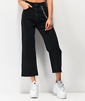 Ragged Jeans Grip Chain Cropped Black Jeans