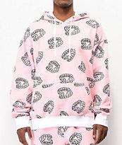 Salem7 Fangs Allover Pink Hoodie