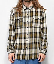 Salty Crew Spinnaker Olive, White & Black Flannel Shirt
