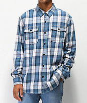 Salty Crew Spinnaker Slate Grey & Blue Flannel Shirt