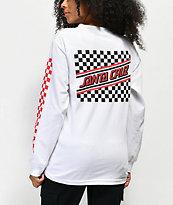 Santa Cruz Checkered Stripe camiseta de manga larga blanca