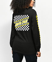 Santa Cruz Checkered Stripe camiseta de manga larga negra