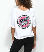 Santa Cruz Ringed Dot White Crop T-Shirt