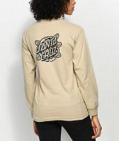 Santa Cruz Rose Dot Mono Sand Long Sleeve T-Shirt