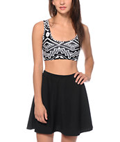 See You Monday Black & White Tribal Crop Tank Top