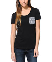 Sirens & Dolls Tribal Pocket Black Scoop Neck Tee Shirt