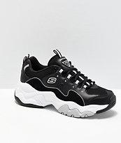 Skechers D'Lites 3.0 Wavy Suede Black & White Shoes