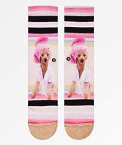 Stance Call Me Bev Pink Crew Socks