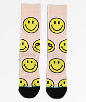Stance X Chinatown Market Smile calcetines rosas y amarillos
